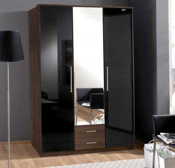 Gamma 3 Door 2 Drawer Mirrored Wardrobe - Walnut and Black Gloss