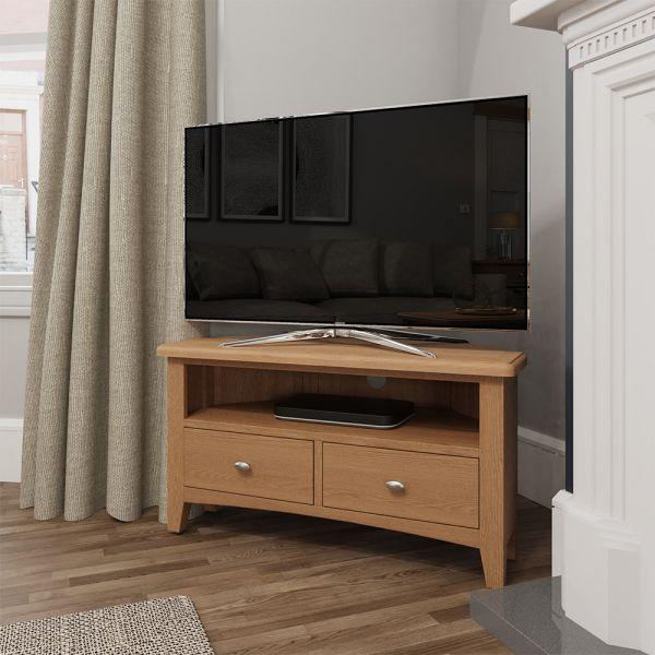 Ocado Corner TV Unit - Light Oak