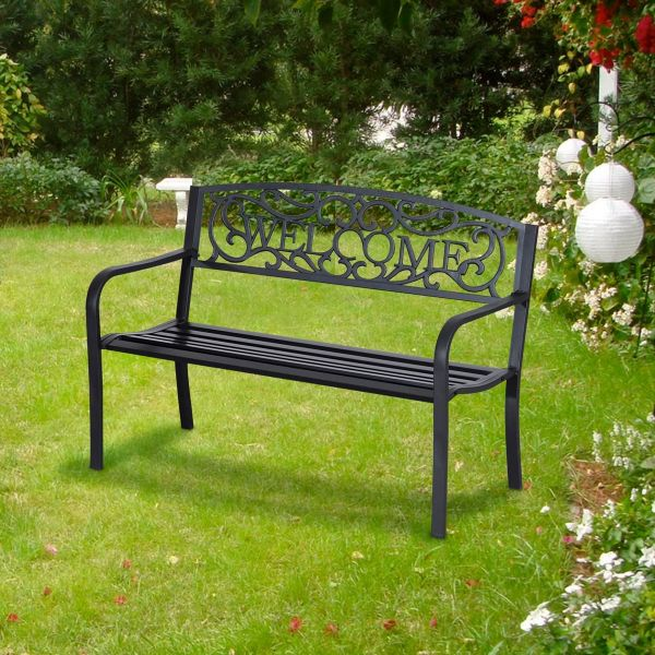 Outsunny Steel Bench - Black