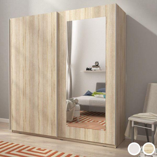 Merlin-VIII 2-Door Sliding Wardrobe - Sonoma Oak or White