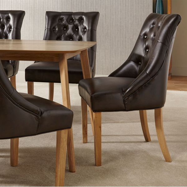 Hampton Dining Chair Pair x2 - Brown Leather or Pearl Fabric