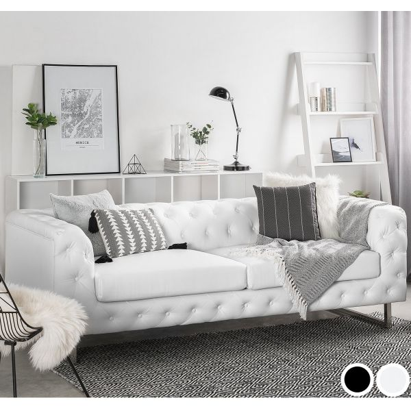 Viland Faux Leather Sofa with 3 Seater - Black or White