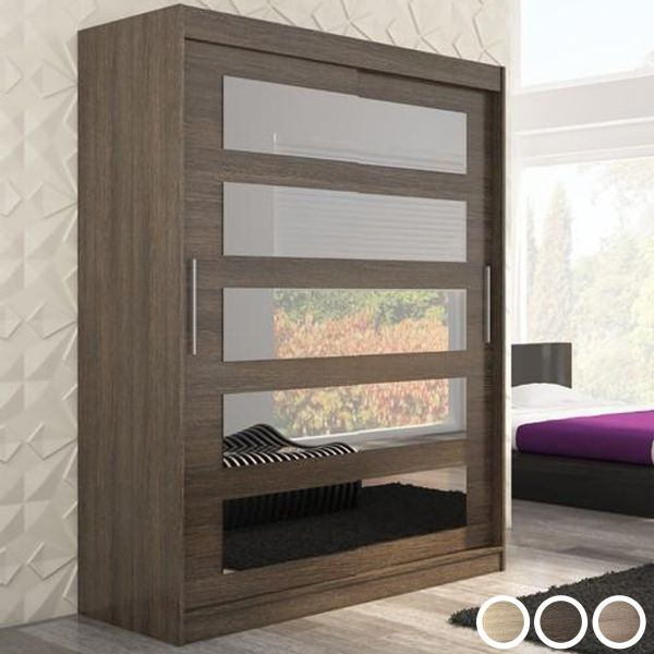 Magnus 2-Door Mirrored Sliding Wardrobe 150cm - Brown, Truffle Oak or Sonoma Oak
