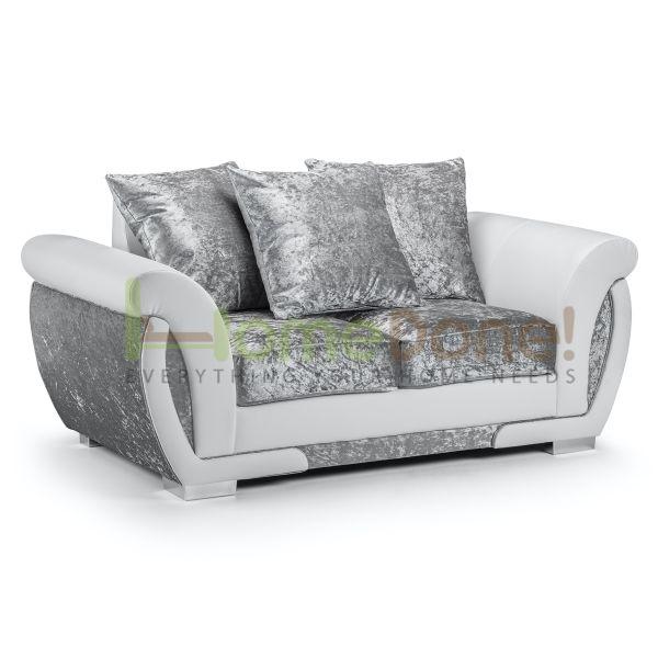 Geno Velvet 2 Seater Sofa - White/Silver