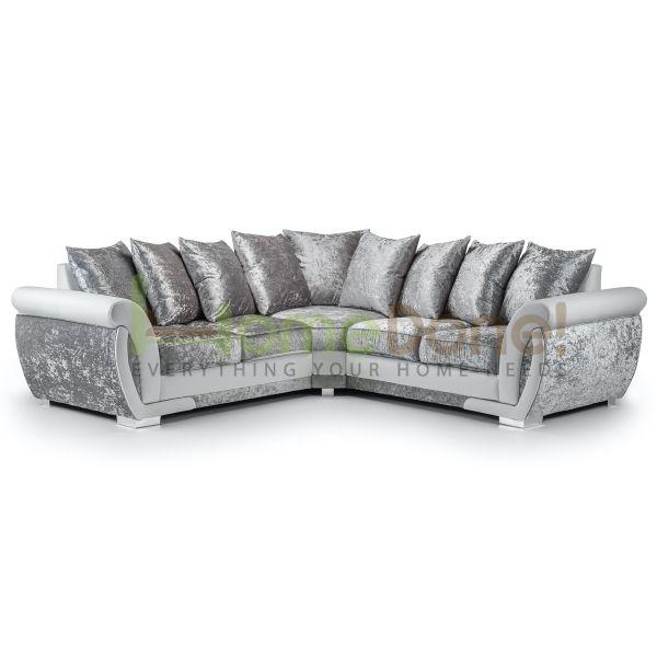 Geno Velvet Large Corner Sofa - White/Silver