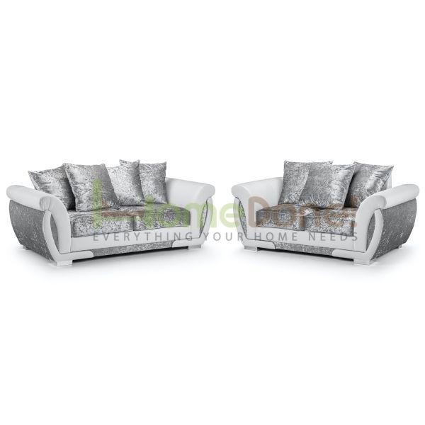 Geno Velvet 3 & 2 Seater Sofa - White/Silver