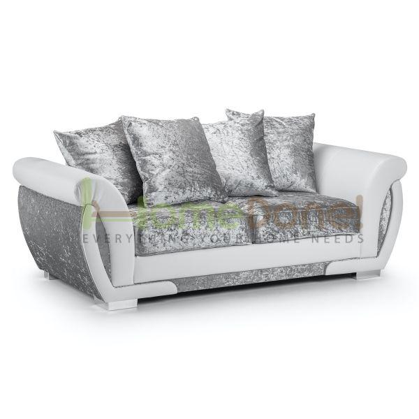Geno Velvet 3 Seater Sofa - White/Silver