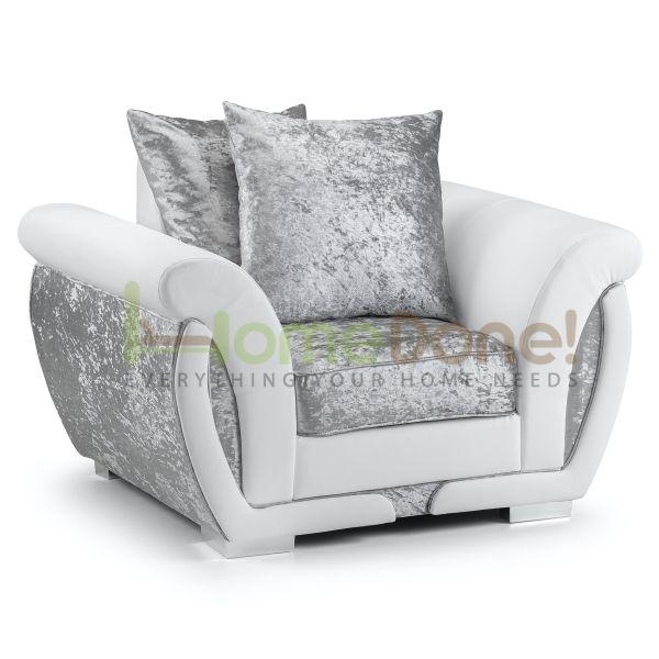 Geno Velvet Armchair - White/Silver