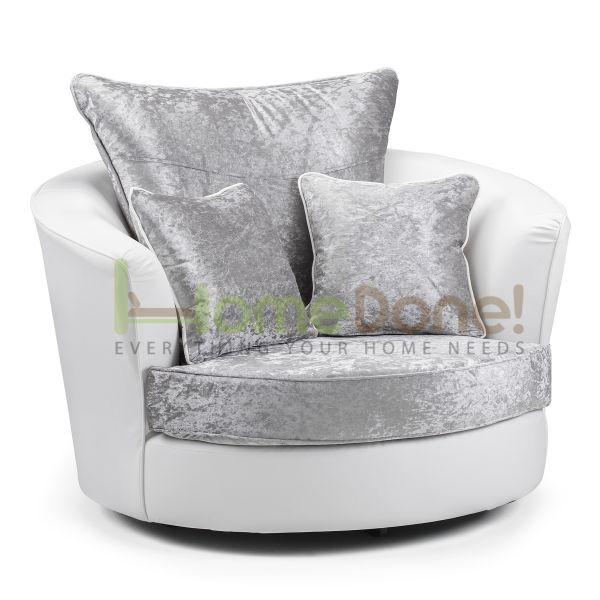 Geno Velvet Swivel Chair - White/Silver