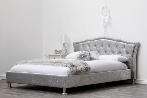 Georgia Silver Crushed Velvet Bed - King