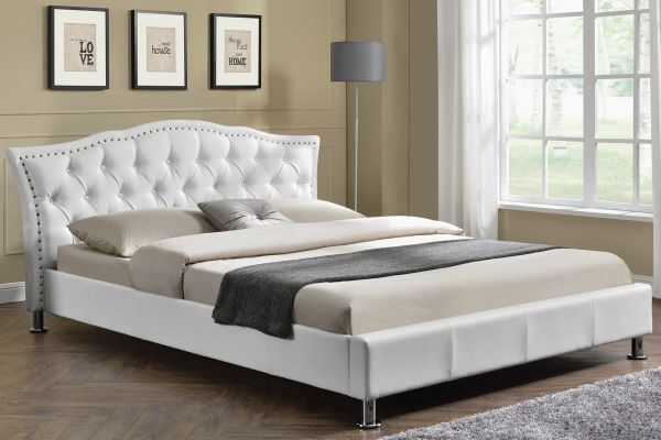 Georgia White Faux Leather Bed - King