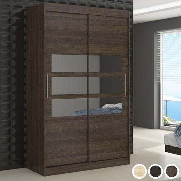 Telko 2-Door Sliding Wardrobe 180cm - Black, Brown or Sonoma Oak