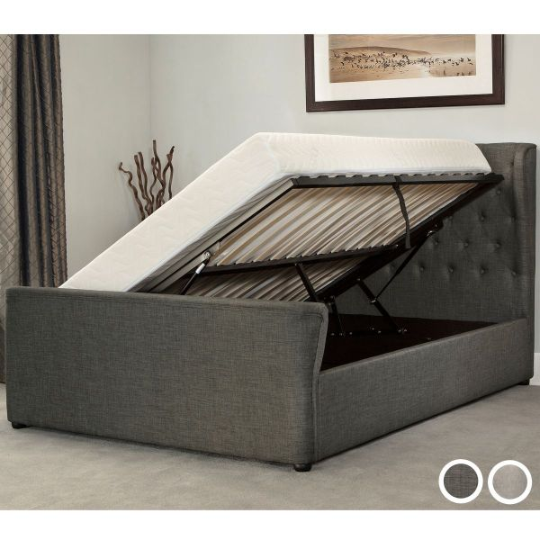 Manhattan Fabric Side Ottoman Bed Frame - Grey or Stone