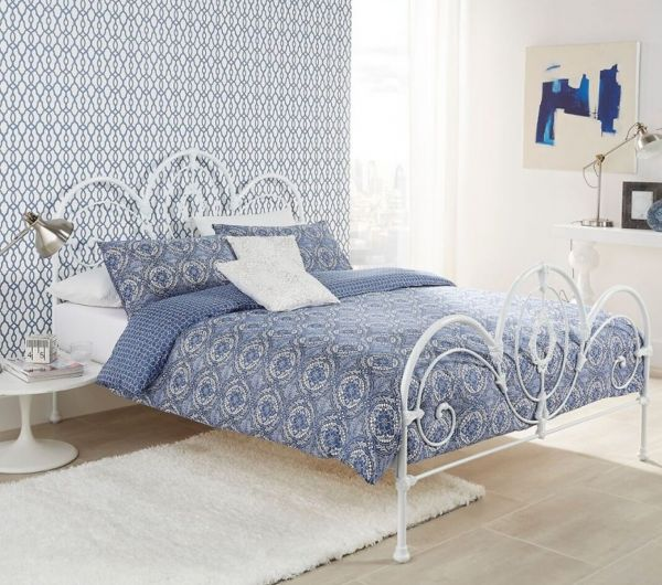 Harriet White Gloss Metal Bed - Double or King