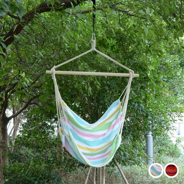 Outsunny Hanging Swing Chair - Multi Colour Stripes