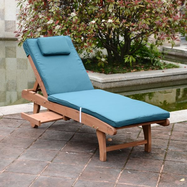Wooden Sun Lounger w/Wheels (Beige or Peacock Blue)