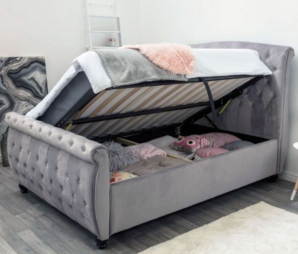 Hampton Grey Velvet Ottoman Bed - Double