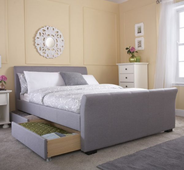 Hannover Grey Hopsack Fabric 4-Drawer Bed Frame - Double or King