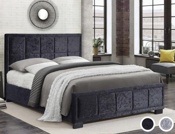 Birlea Hannover Black or Steel Crushed Velvet Bed Frame