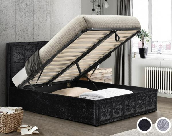 Birlea Hannover Black or Steel Crushed Velvet Ottoman Storage Bed