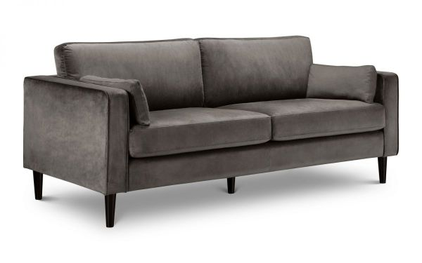 Julian Bowen Hayward Grey Velvet 3-Seat Sofa