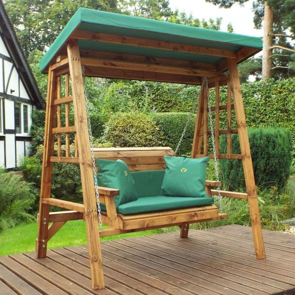 Dorset 2 Seater Swing Chair - Green