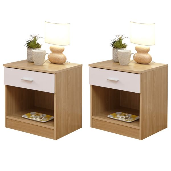 Melbourne 1 Drawer Bedside Table Pair x 2 - 4 Colours