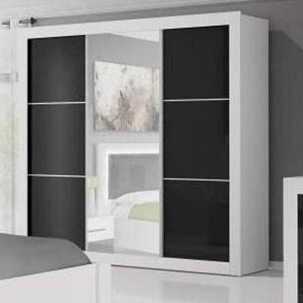 Riko 3-Door Mirrored Sliding Wardrobe 250cm - White Matt & Black Gloss
