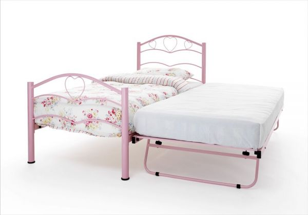 Yasmin Metal Heart Single & Guest Bed - White or Pink