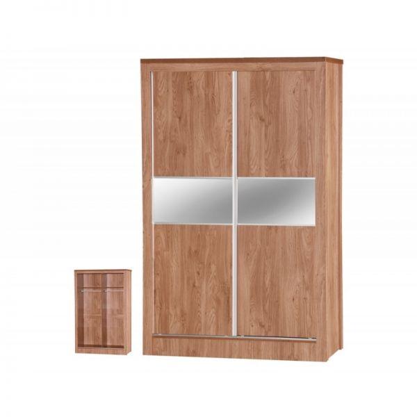 Holland Oak 2-Door Sliding Mirrored Wardrobe