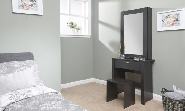 Hobson Mirrored Dresser Unit & Stool - Espresso, Oak or White