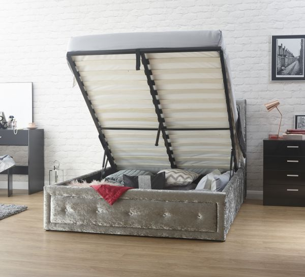 Hollywood Diamante Silver Crushed Velvet Ottoman Bed - Double or King