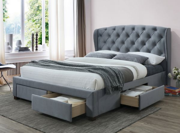 Birlea Hope Grey Velvet 4-Drawer Bed - Double or King