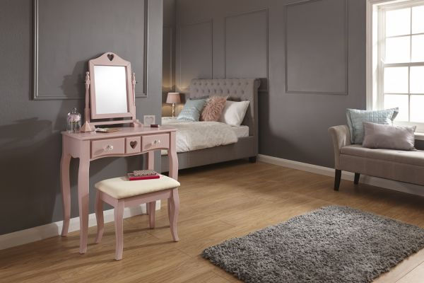 Heart Dressing Table & Stool Set - Pink or White
