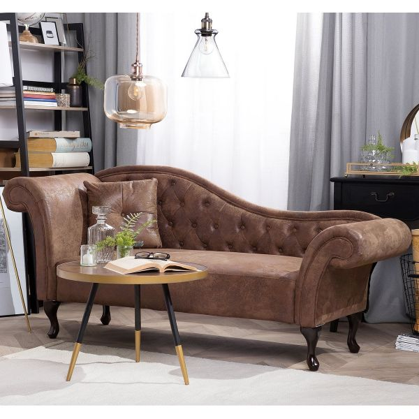 Latte Faux Suede Chaise Lounge - Brown