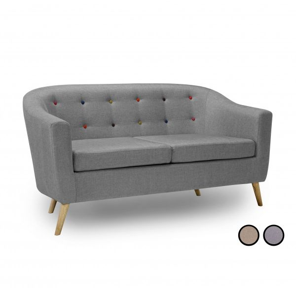 LPD Hudson Fabric Buttoned Sofa - Beige or Grey