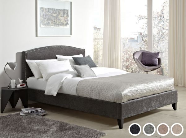 Charlotte Chenille Velvet Fabric Bed - 3 Sizes - 4 Colours