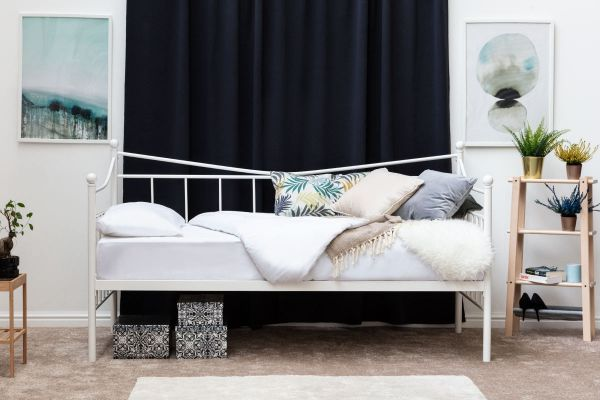 Ickleford White Metal Day Bed with Trundle Option
