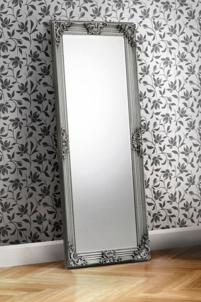 Julian Bowen Rococo Pewter Lean-To Dress Mirror