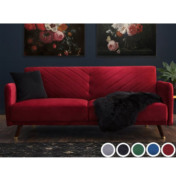 Sinjar Velvet Fabric Sofa Bed with 3 Seater - 5 Colours