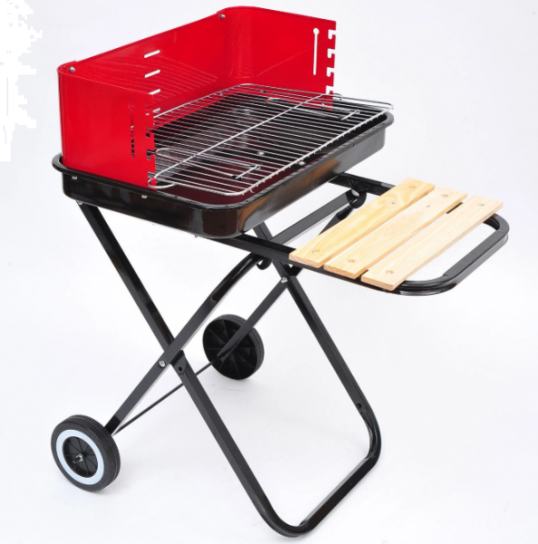 Outsunny Barbecue Foldable Trolley with wheels  -  Red & Black