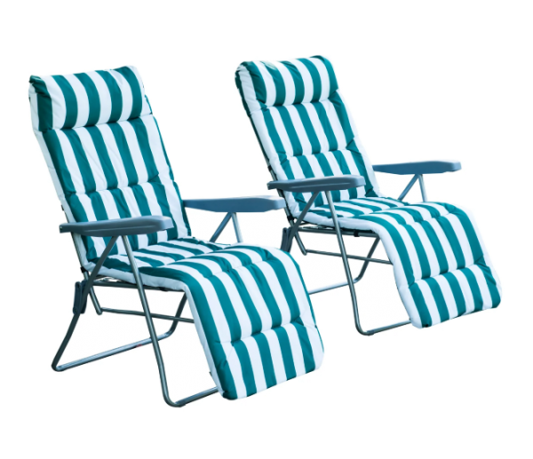 Outsunny 2PC Reclining Sun Lounger Chairs - Green and Blue
