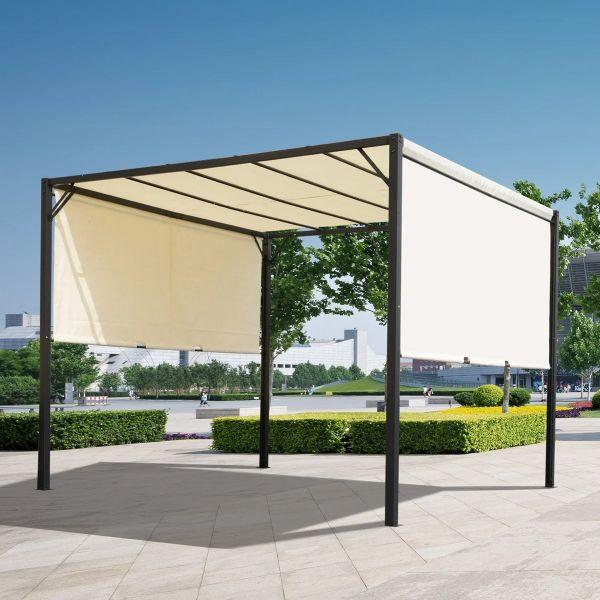 Outsunny Retractable Pergola Canopy - Cream / White