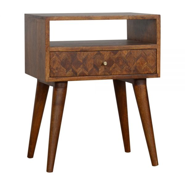 Assorted Chestnut Bedside Table with Open Slot