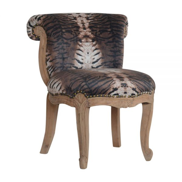 Tiger Printed Studded Chair