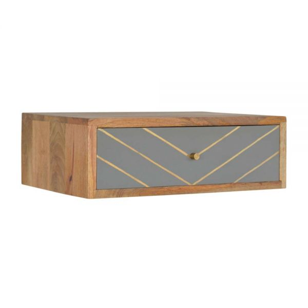 Wall Mounted Sleek Cement Brass Inlay Bedside Table