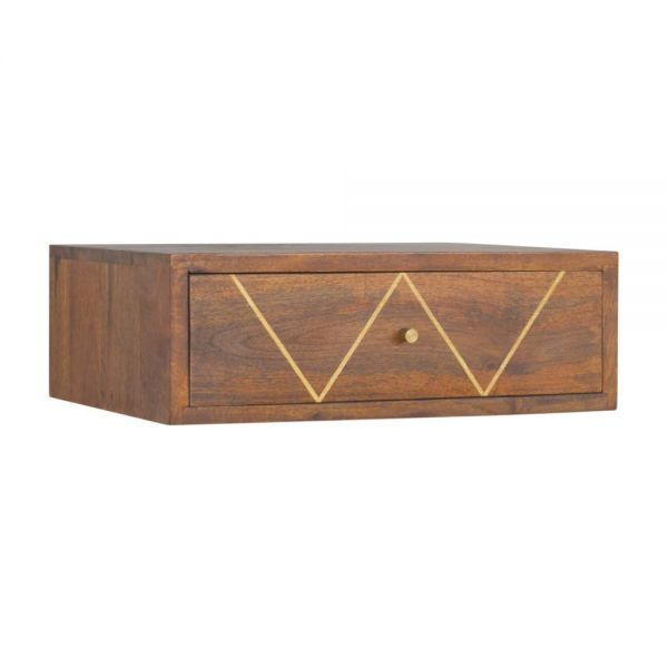 Wall Mounted Chestnut Brass Inlay Bedside Table