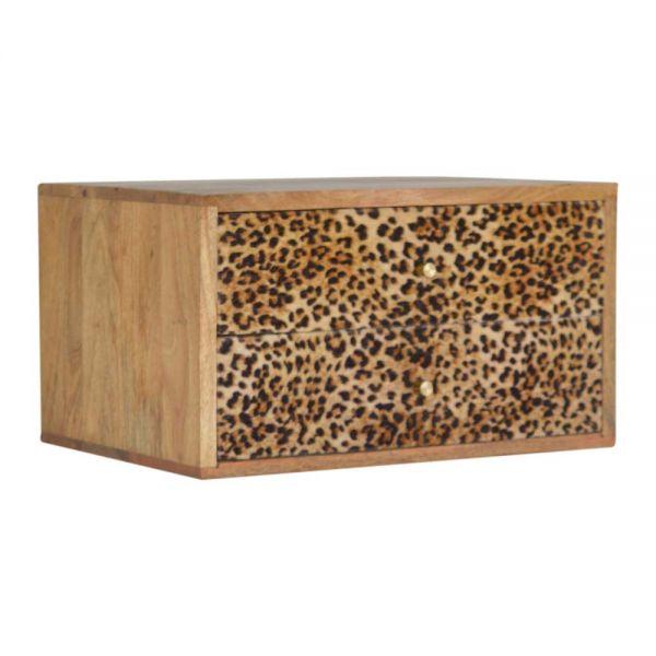 Wall Leopard Print Bedside Table