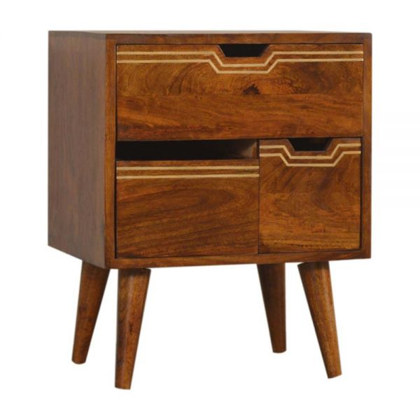 Multi Chestnut Bedside Table with Removeable Drawers