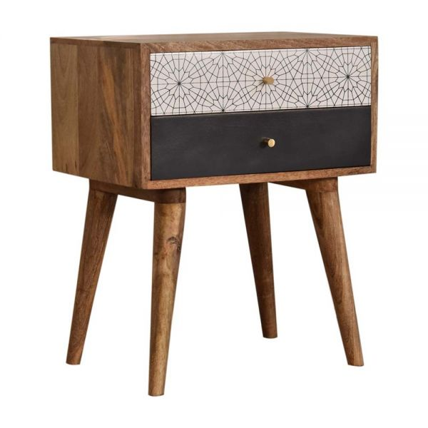 Black Patterned Bedside Table